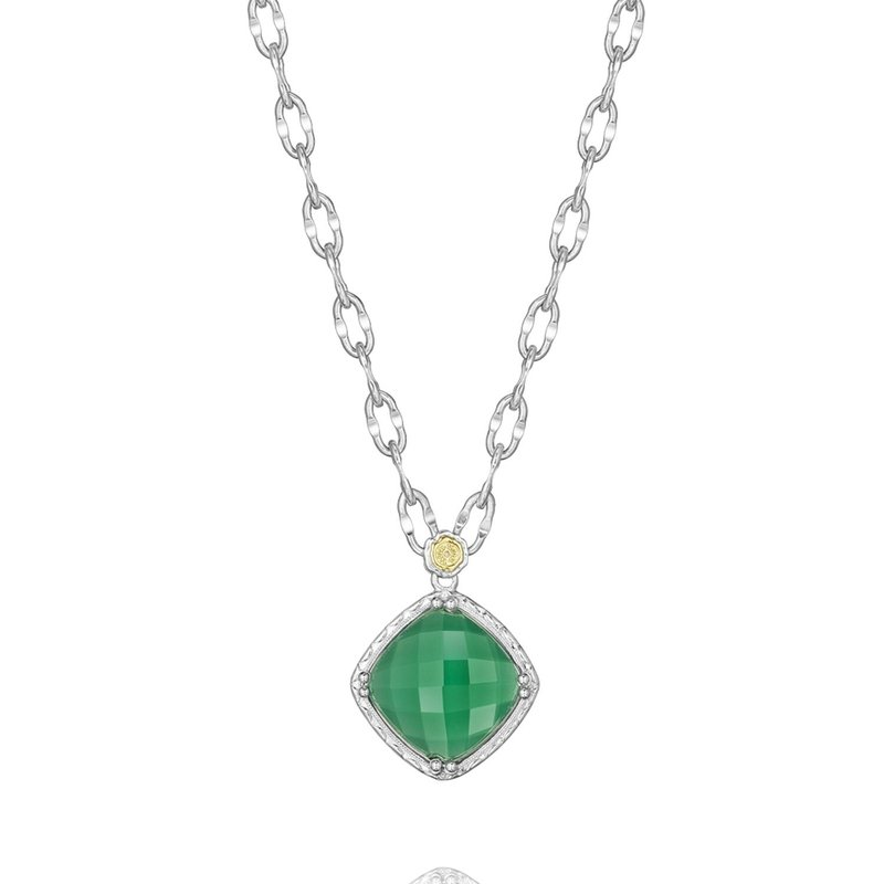 Tacori Fashion Petite Gem Pendant featuring Clear Quartz over Green Onyx