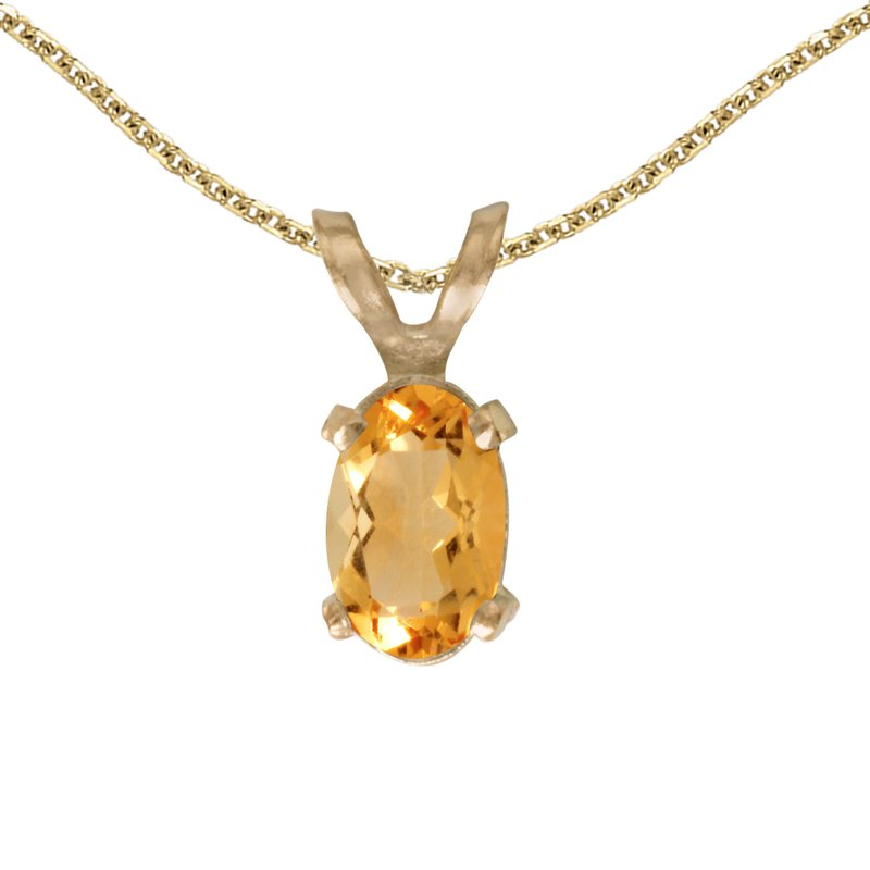 Color Merchants 14k Yellow Gold Oval Citrine Pendant