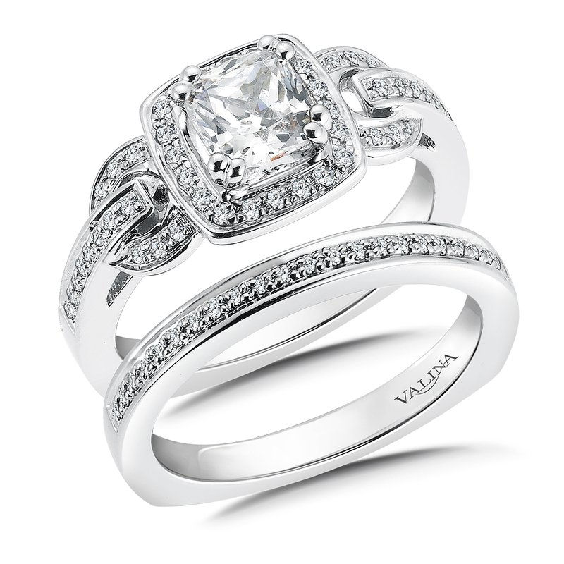 Valina Diamond Halo Engagement Ring Mounting in 14K White Gold (.22 ct. tw.)