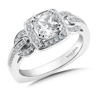 Diamond Halo Engagement Ring Mounting in 14K White Gold (.22 ct. tw.)