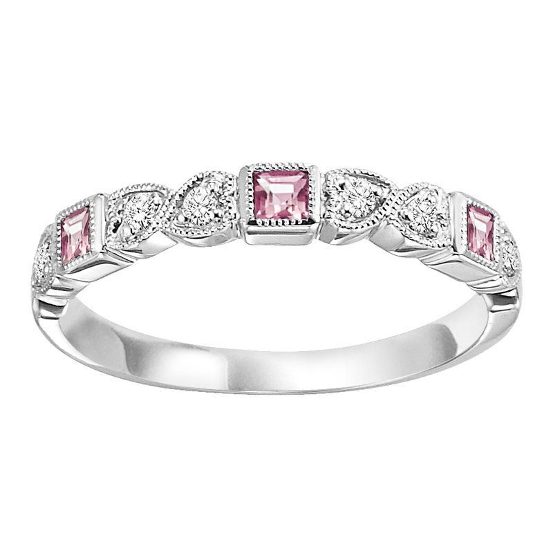 Mixables 10K Pink Tourmaline & Diamond Mixable Ring