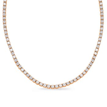 Rose Gold Four Prong Tennis Necklace