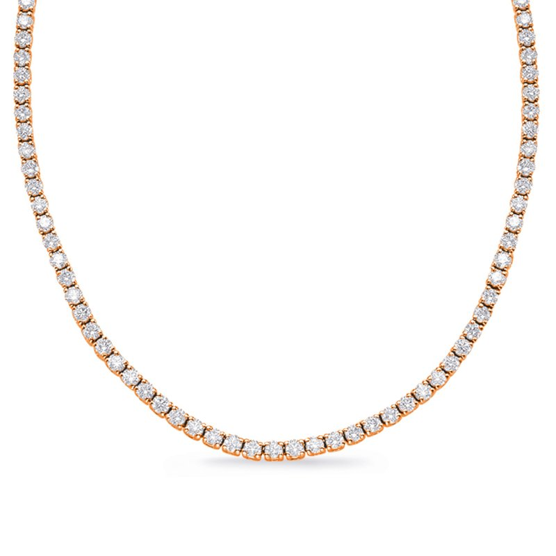 S. Kashi  & Sons Rose Gold Four Prong Tennis Necklace