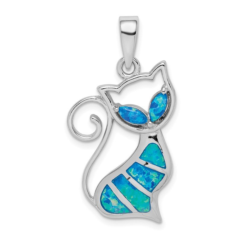Quality Gold Sterling Silver Rhodium-plated Created Opal Cat Pendant