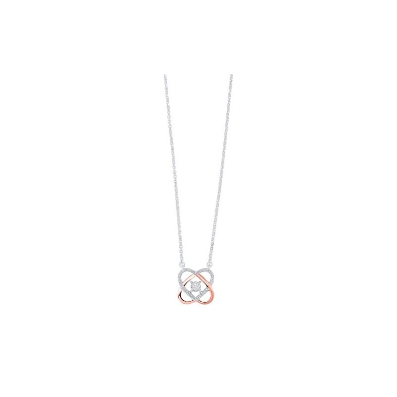 Gems One Love Knot Diamond Pendant in Two-Tone 10K Gold (1/12 ct. tw.)