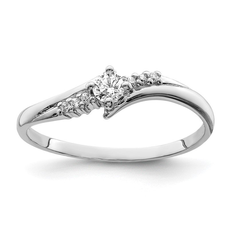 Quality Gold Sterling Silver Rhodium-plated and CZ Ring