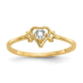 14K White Topaz Birthstone Heart Ring