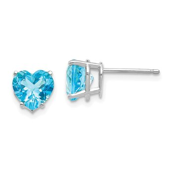 14k White Gold 7mm Heart Blue Topaz Earrings