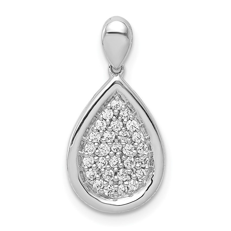 Quality Gold 14k White Gold 1/4ct. Diamond Fancy Teardrop Pendant