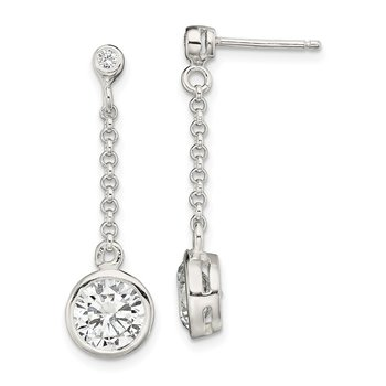 Sterling Silver Polished CZ Chain Dangle Post Earrings