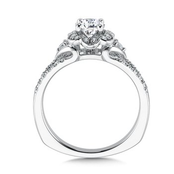 Floral shape halo .29 ct. tw., 1/2 ct. round center