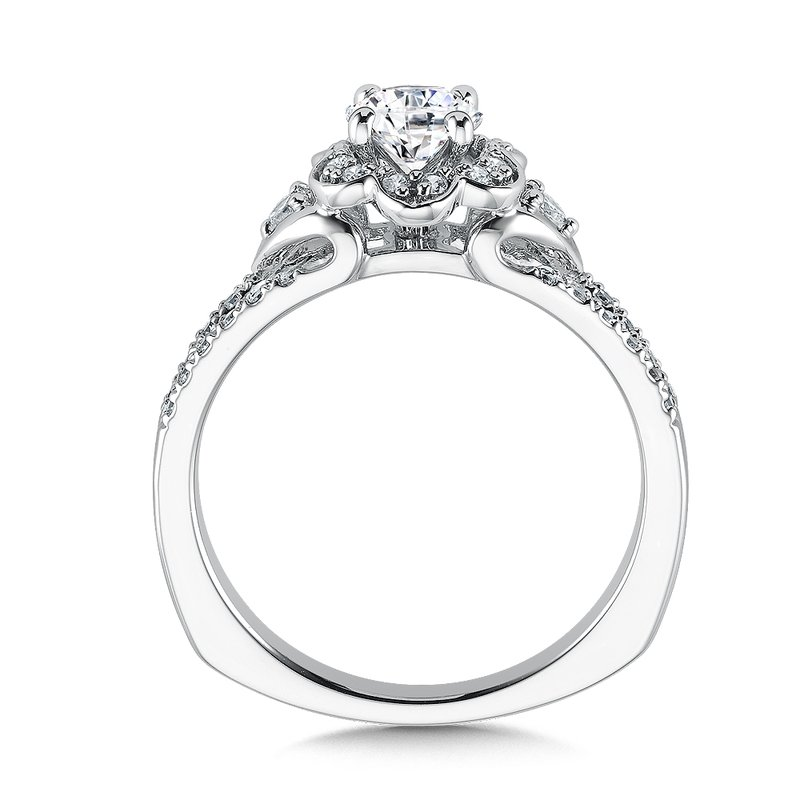 Valina Floral shape halo .29 ct. tw., 1/2 ct. round center