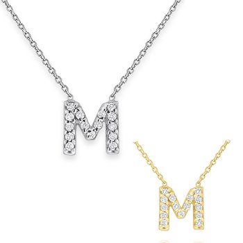 Diamond Bitty Block Initial M Necklace