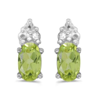 14k White Gold Oval Peridot Earrings