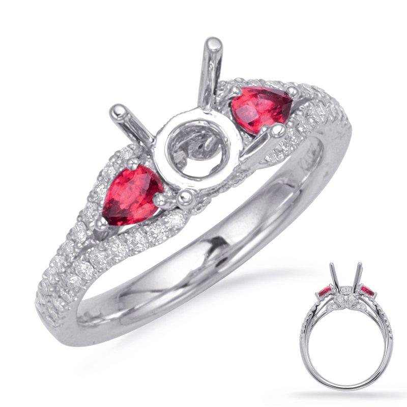 S. Kashi & Sons Bridal White Gold Ruby & Diamond Ring