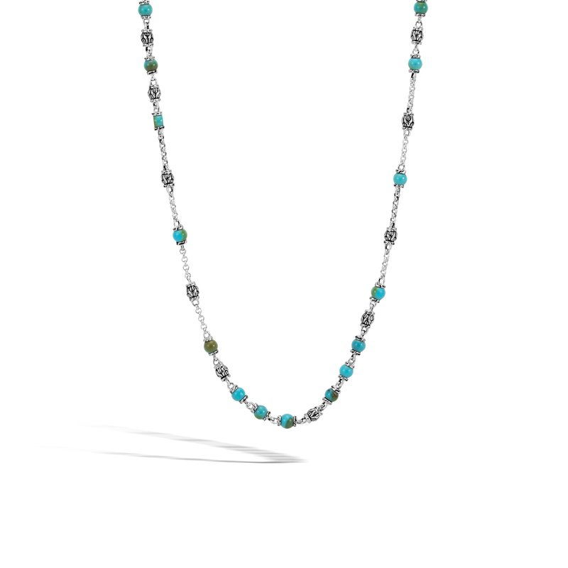 JOHN HARDY Classic Chain Bead Necklace, Silver with 4MM Gemstone