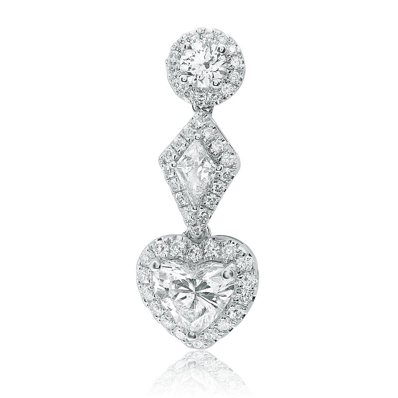 Roman & Jules Three Tier Diamond Drop Earrings