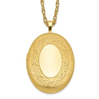 1/20 Gold Filled 26mm Leaf Border Oval Locket Necklace