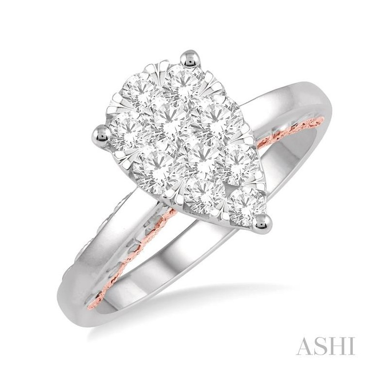 ASHI pear shape lovebright diamond ring