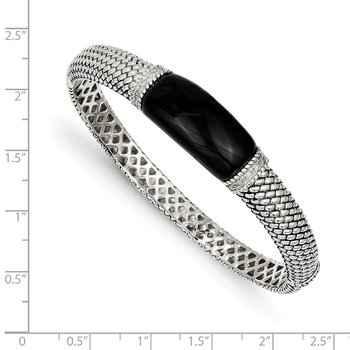 Sterling Silver Onyx & 1/10ct. Diamond Bangle Bracelet