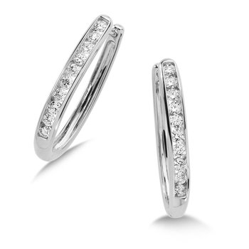 Channel set Diamond Oval Hoops in 14k White Gold (1/4 ct. tw.) GH/SI1-SI2