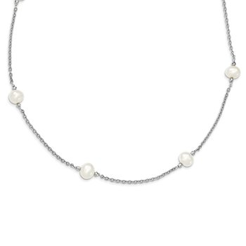 Sterling Silver Rhodium-plated & FWC Pearl w/mirror Beads Necklace