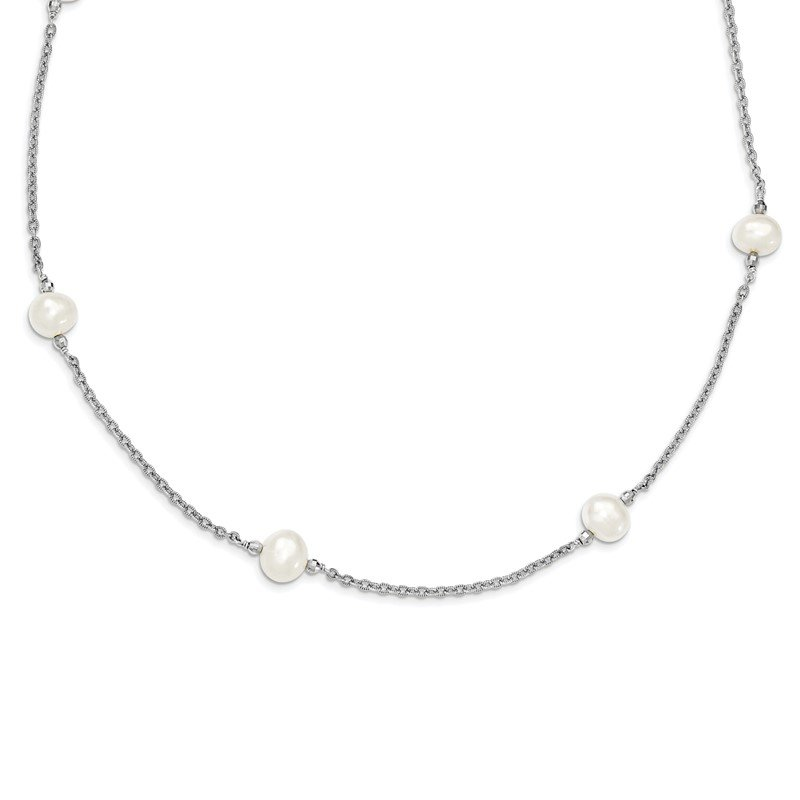 Arizona Diamond Center Collection Sterling Silver Rhodium-plated & FWC Pearl w/mirror Beads Necklace