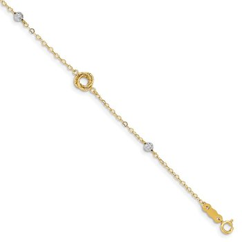 14k Two-tone Love Knots on Small Heart Link Bracelet