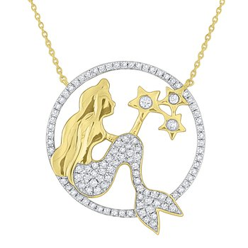 Diamond Mermaid Circle Necklace Set in 14 Kt. Gold