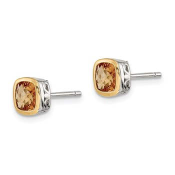 Sterling Silver w/ 14K Accent Citrine Square Stud Earrings