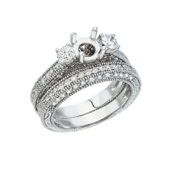 14K White Gold 1 Ct Bridal Fashion Diamond Ring Set
