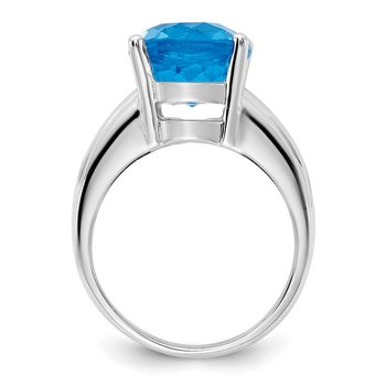14k White Gold 12x10mm Oval Blue Topaz ring