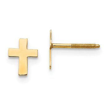14k Madi K Polished Tiny Cross Silicone Back Earrings