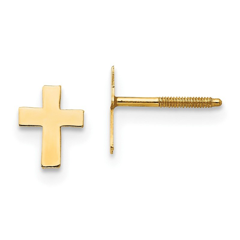 Quality Gold 14k Madi K Polished Tiny Cross Silicone Back Earrings