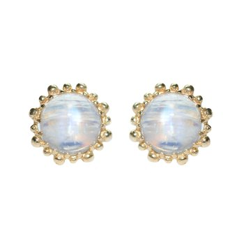 Dew Drop Snowflake Studs - Moonstone