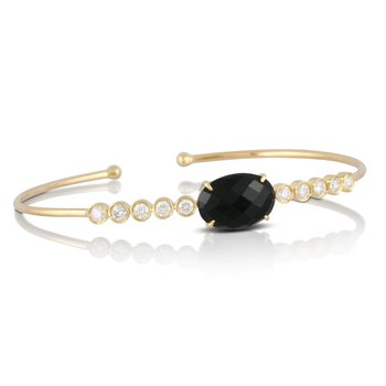 Gatsby Onyx & Bezel Set Diamond Bangle 18KY
