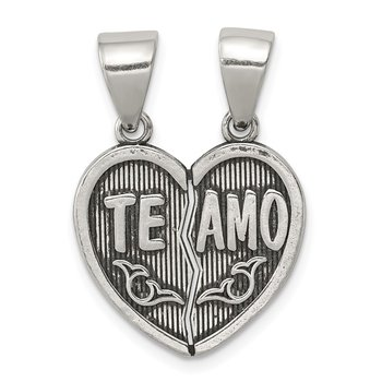 Sterling Silver Antiqued Te Amo Break Apart Heart Pendant