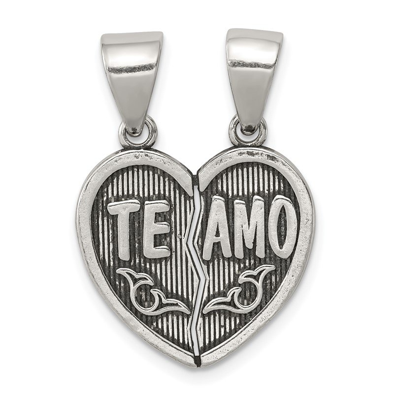 Quality Gold Sterling Silver Antiqued Te Amo Break Apart Heart Pendant