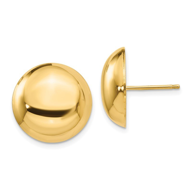 Quality Gold 14k 15.50mm Button Post Earrings