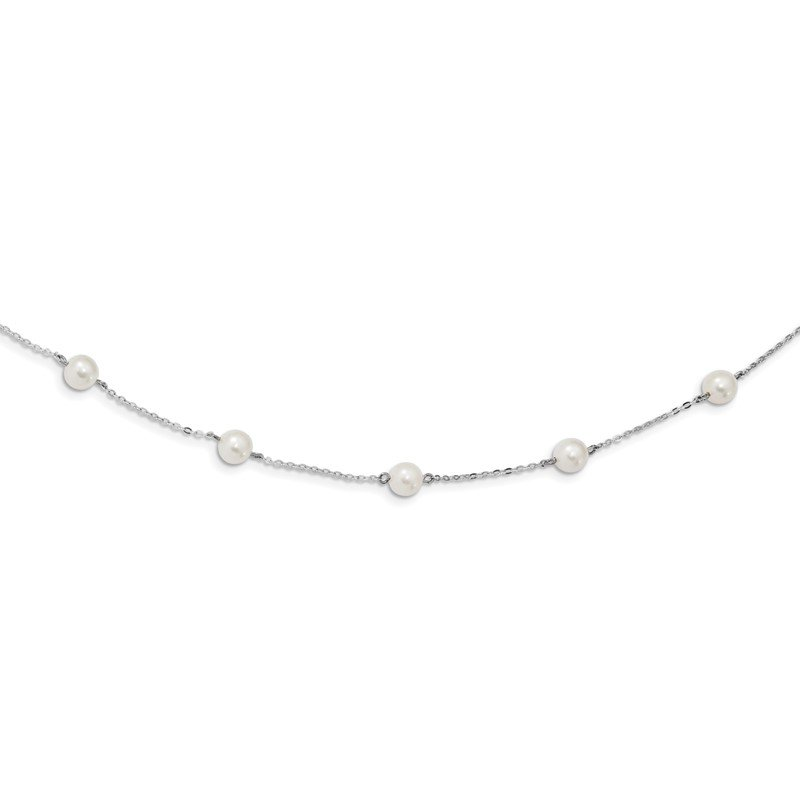 Quality Gold Sterling Silver Rh-plated Fresh Water Cultured Pearl Necklace