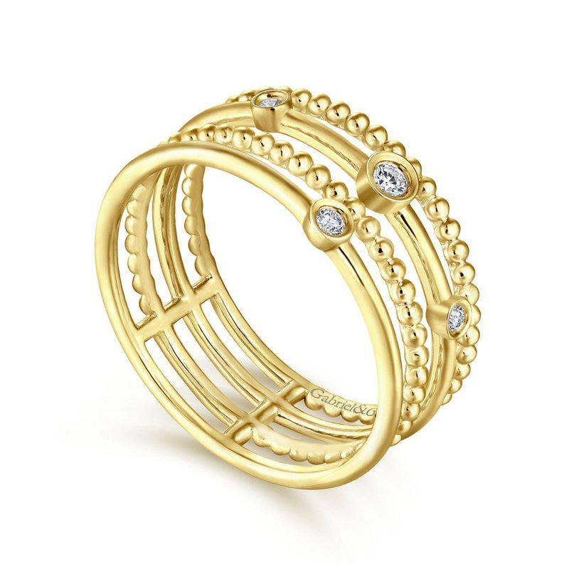 Amavida 14K Yellow Gold Beaded Bezel Set Diamond Layered Ring