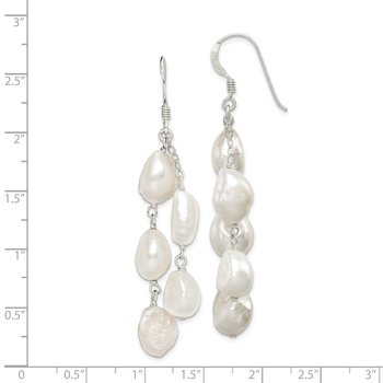 Sterling Silver 2-Strand FW Cultured Pearl Dangle Earrings