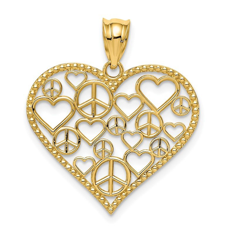 Quality Gold 14K Polished Hearts and Peace Signs in Heart Pendant