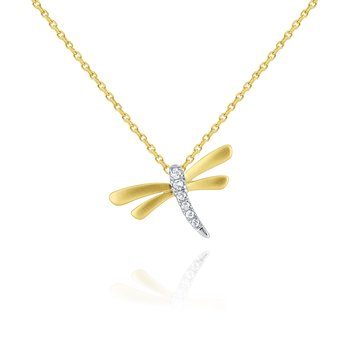 14k Gold and Diamond Dragonfly Necklace, small