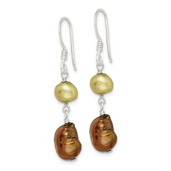 Sterling Silver Champagne/Copper FW Cultured Pearl Earrings