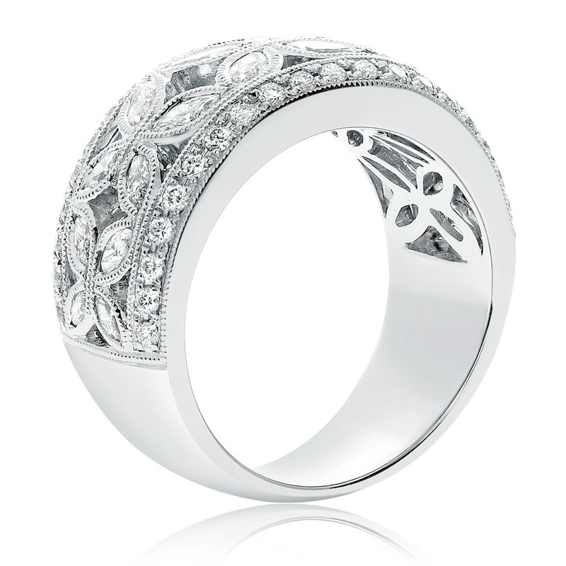 Roman & Jules White Diamond Flower Ring