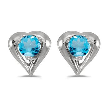 14k White Gold Round Blue Topaz Heart Earrings