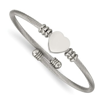 Stainless Steel Polished Heart Flexible Bangle