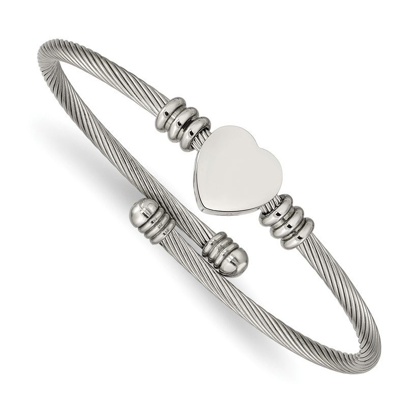 Chisel Stainless Steel Polished Heart Flexible Bangle