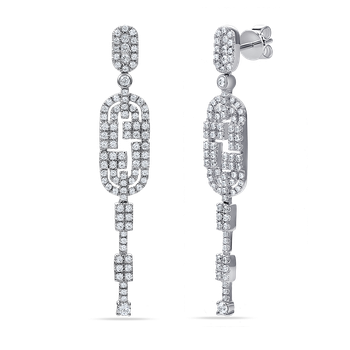14K art deco drop earrings with 182 diamonds 1.37ct